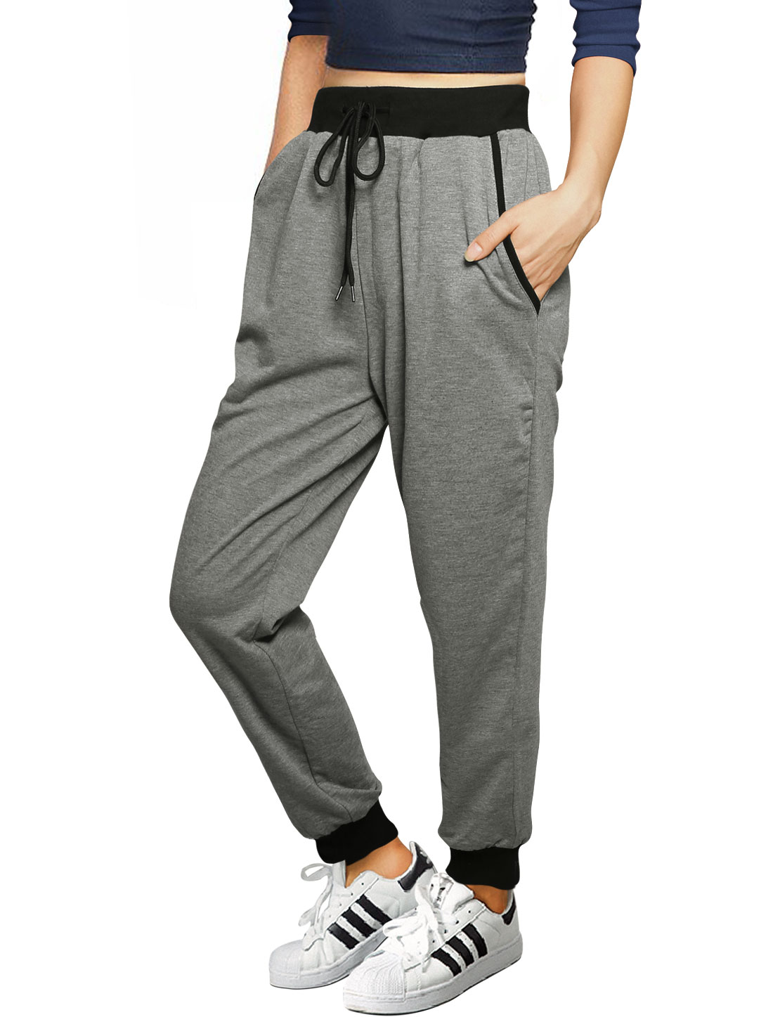 Allegra K Ladies Drawstring Waist Slant Pockets Slim Fit Jogging Pants Gray L
