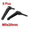 M5x25mm Male Thread 50mm Lever Length Metal Adjustable Clamp Handle 5Pcs Black