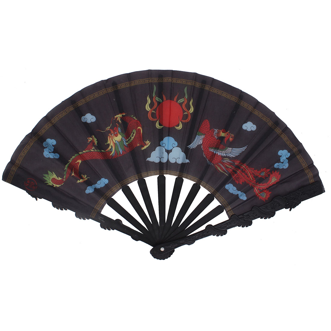 Performance Dancing Embossed Plastic Ribs Red Dragon Phoenix Pattern Nylon Cloth Folding Hand Fan Black