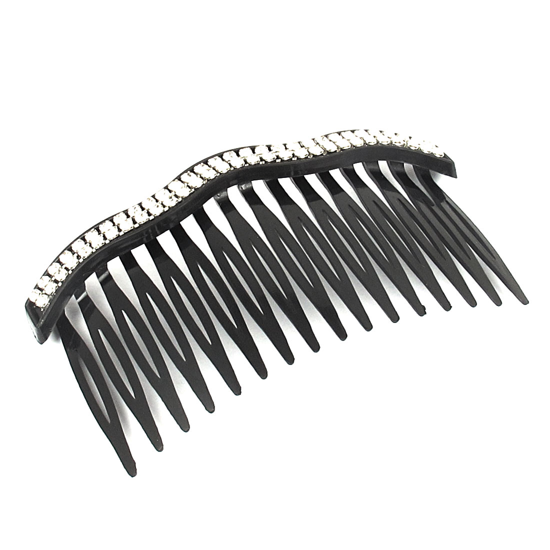 Lady 16 Teeth Rhinestone Inlaid Wave Black Plastic Hair Comb Hairclip Clip Clamp