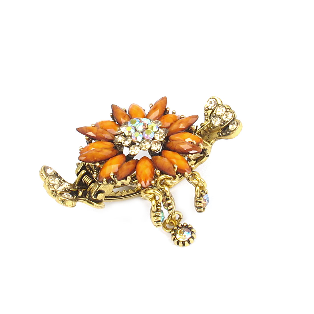 Lady Bohemia Style Rhinestone Inlaid Yellow Flower Brass Tone Metal Crab Hair Claw Hairclip Jaw Hairpin