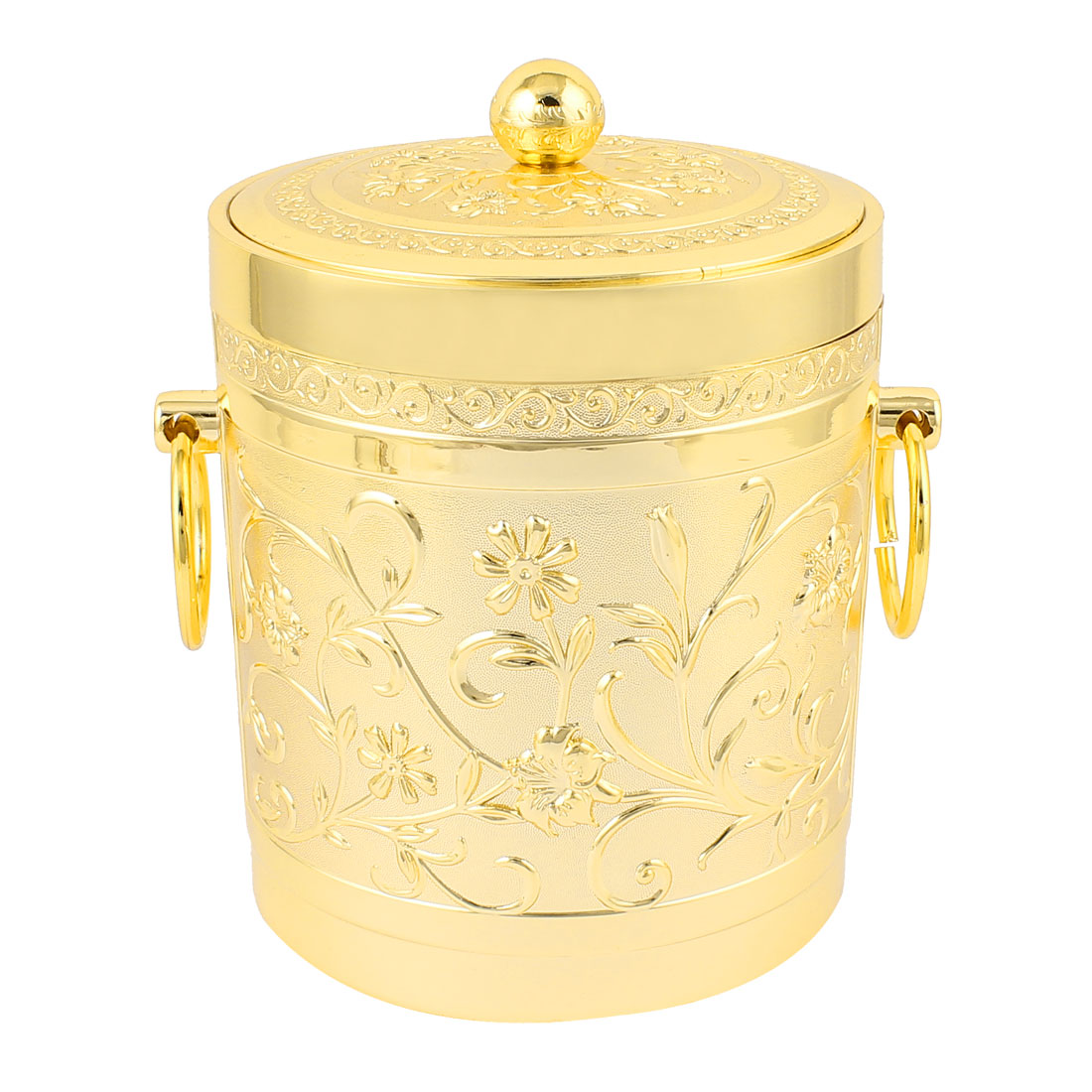 Flower Carved Stainless Steel Ice Bucket w Tongs Gold Tone