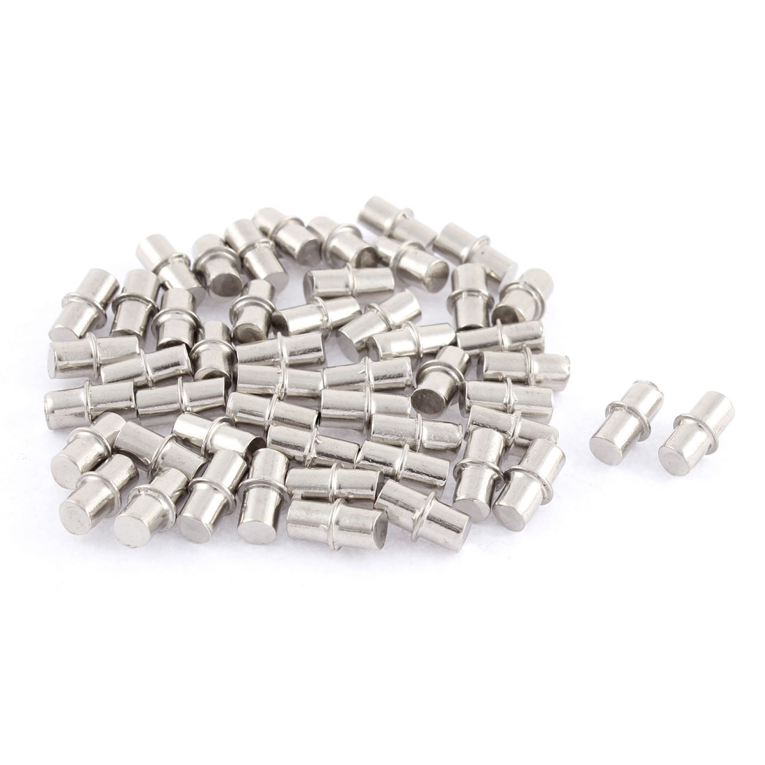 6mm x 14mm Furniture Cupboard Hardware Metal Shelf Support Pins Silver Tone 50 Pcs
