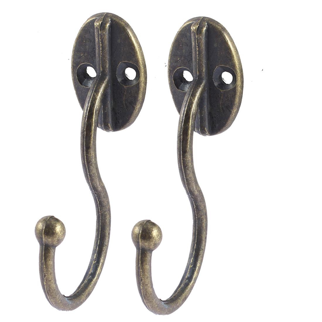 Metal Double Holes Wall Mounted Single Hanger Bronze Tone 2 Pcs