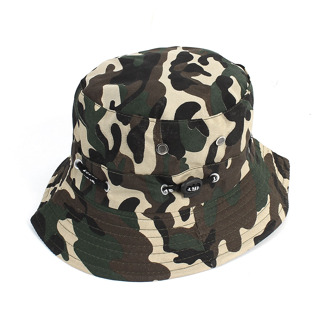 Man Outdoor Hunting Fishing Meshy Strap Camouflage Pattern Wide Brim Hat Army Green