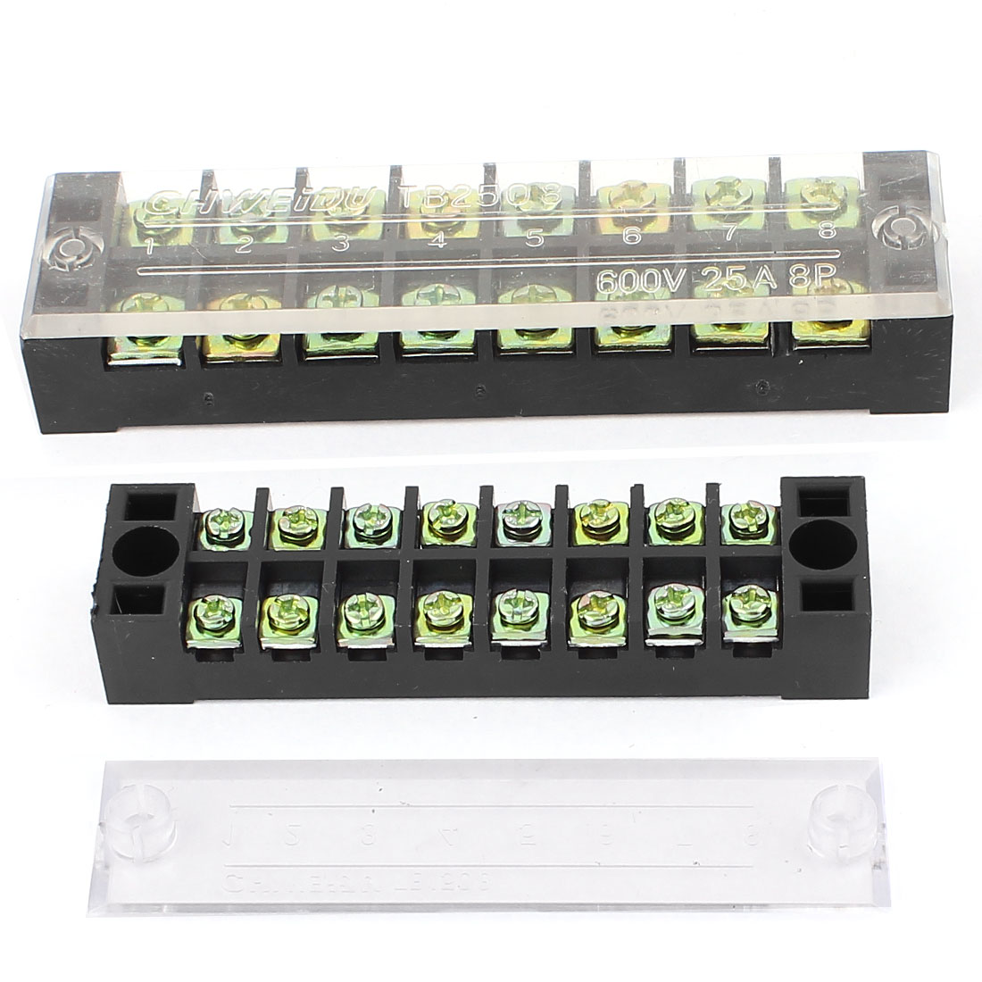 2Pcs 600V 15A/25A Dual Row 8 Positions Screw Electric Wire Connection Barrier Terminal Strip Block Set