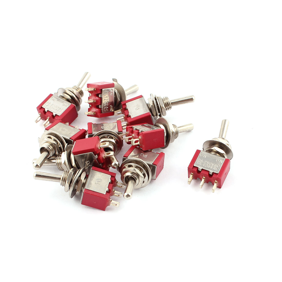 AC 250V/2A 120V/5A SPDT ON/ON 5.7mm Thread 3 Terminals Toggle Switch 10Pcs Red