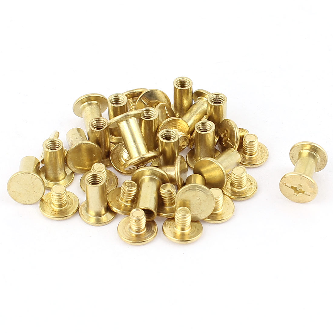 Scrapbook Leather Brass Plated Binding Chicago Screw Post 10mm 19pcs