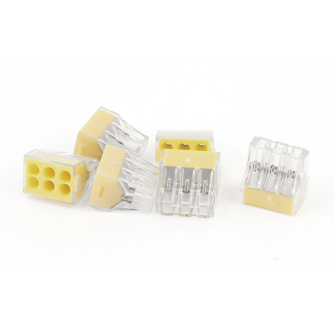 6Pcs PCT-106 6 Port Yellow Push-in Wire Connector for 0.75-2.5mm2 Wire