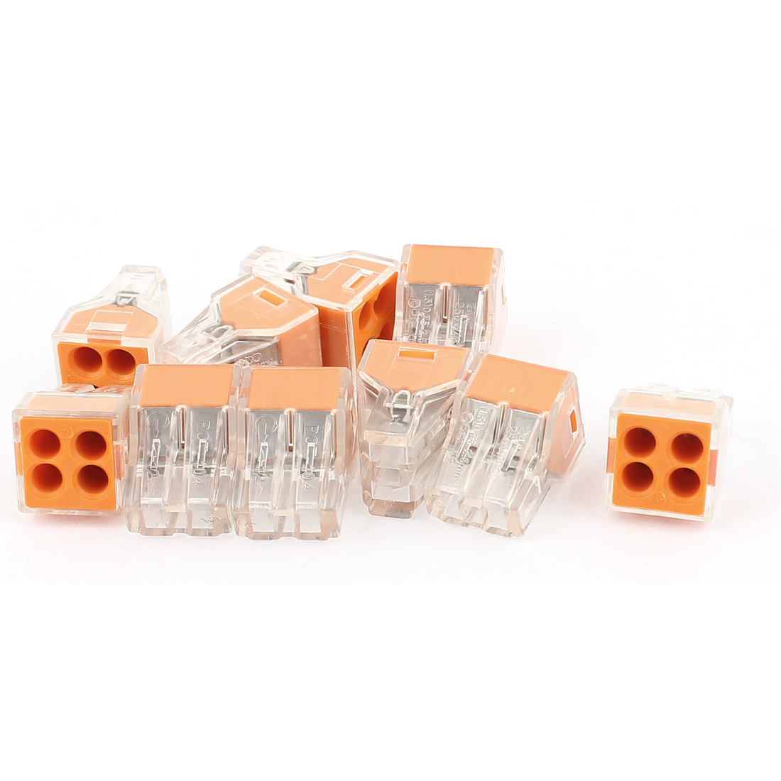 10Pcs PCE-104 4 Port Orange Push-in Wire Connector for 0.75-2.5mm2 Wire