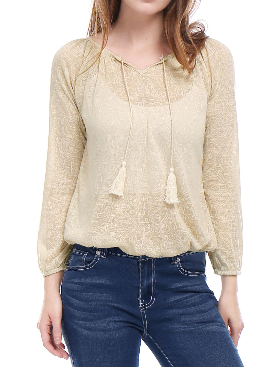 Woman Paisley Pattern Elastic Trim Bracelet Sleeves Peasant Top Beige XL