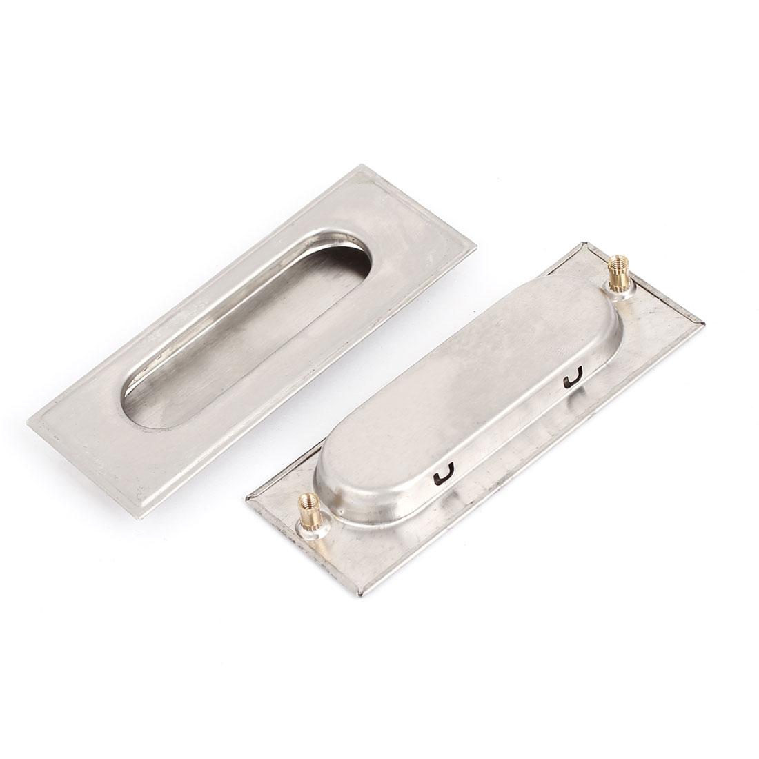 Rectangle Metal Recessed Cupboard Door Flush Pull Handle Hardware 108 x 41mm 2Pcs