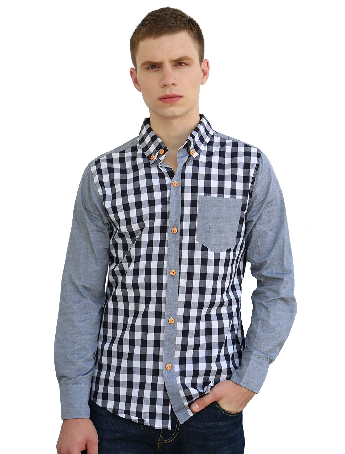 Men Button-Collar Single Breasted Patch Chest Pocket Plaid Shirt Light Gray M