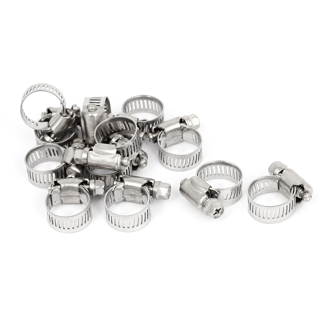 Adjustable 10-16mm Range Band Stainless Steel Wire Pipe Hose Clip Clamp 12pcs