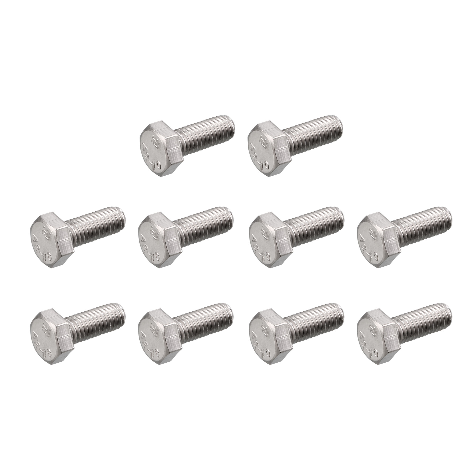 M6 x 16mm Metric 304 Stainless Steel Fully Threaded Hex Head Screw Bolt 30 Pcs