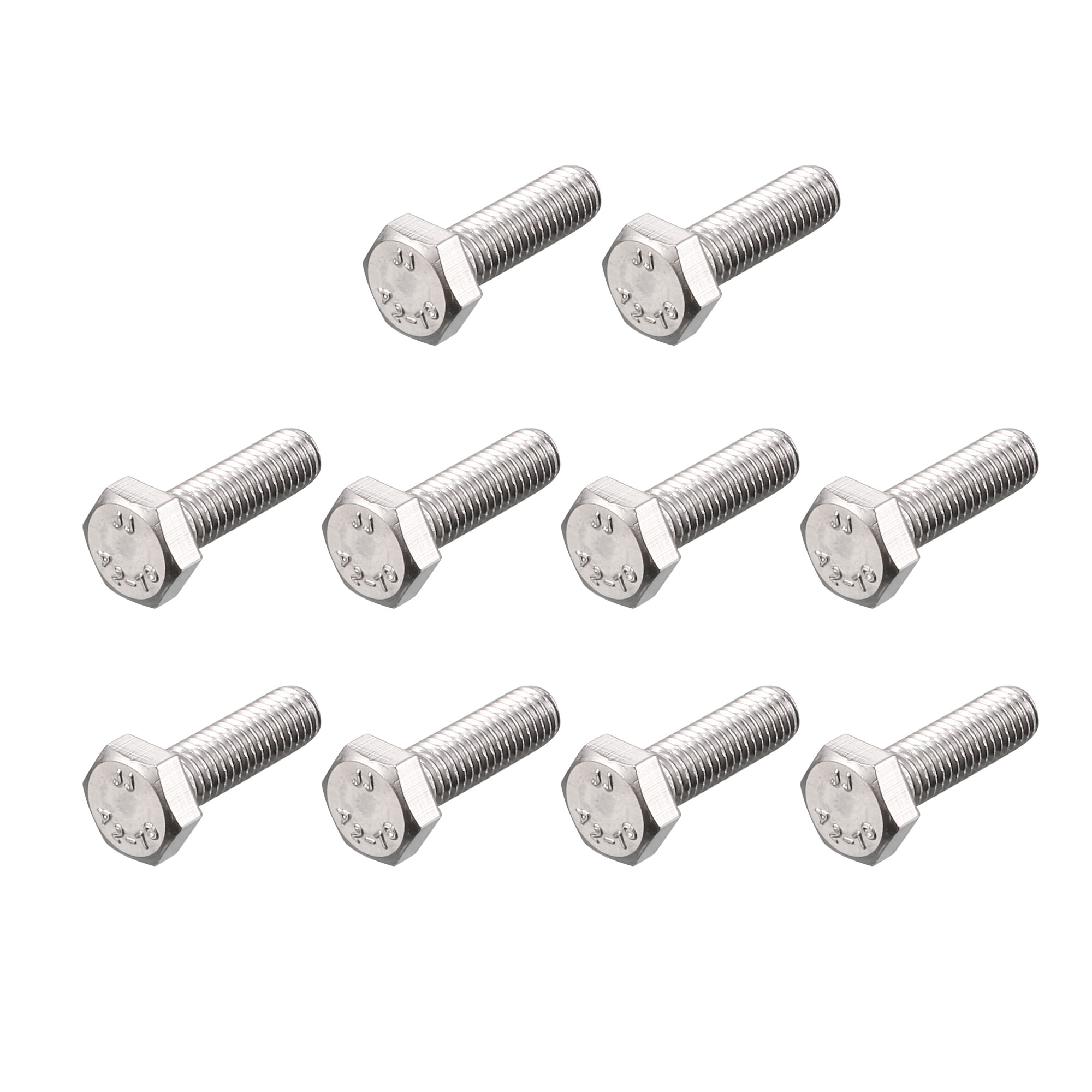 M6 x 20mm Metric 304 Stainless Steel Fully Threaded Hex Head Screw Bolt 20 Pcs