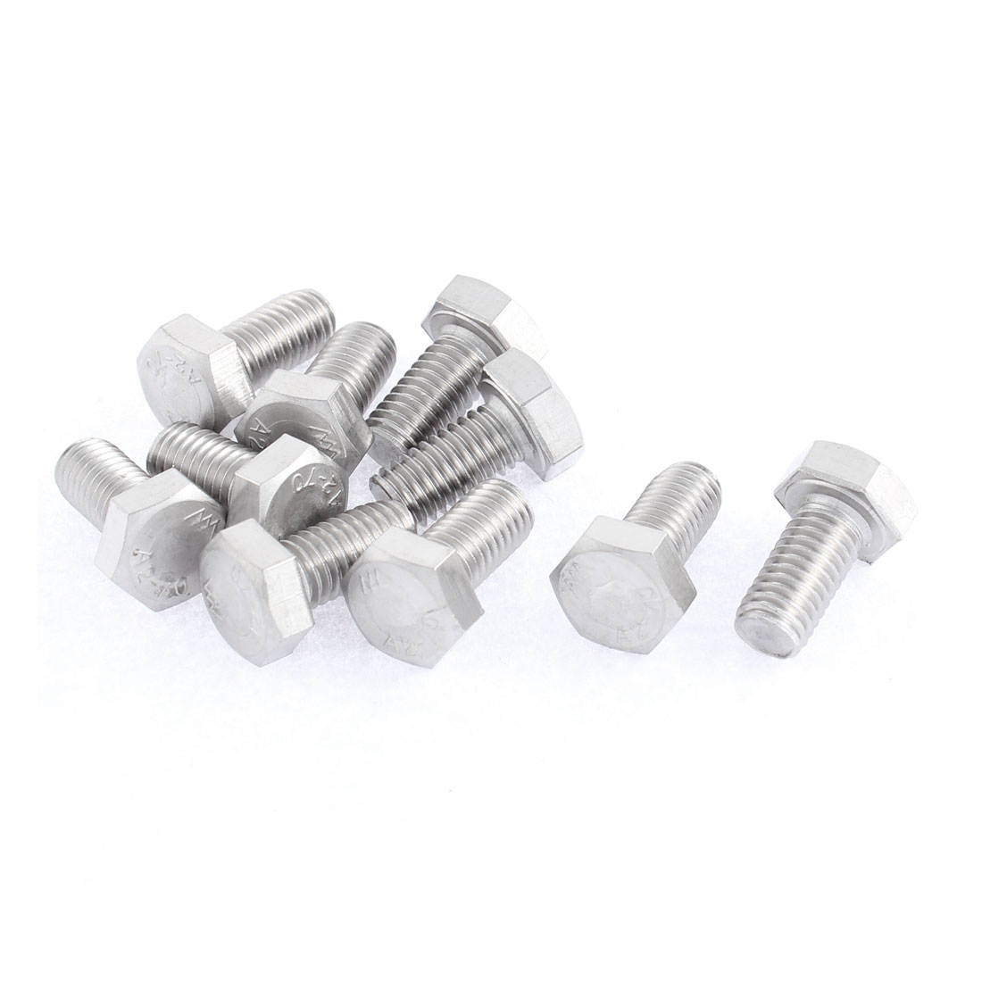 M8 x 16mm Metric 304 Stainless Steel Fully Threaded Hex Head Screw Bolt 10 Pcs