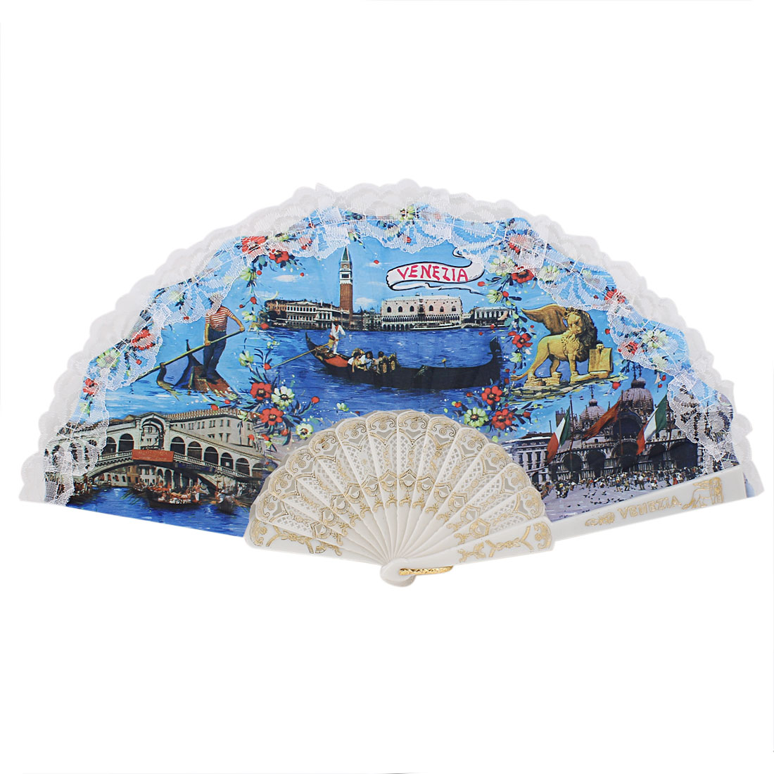 Plastic Ribs Lace Edge Flower Pattern Folding Party Dancing Hand Fan Blue
