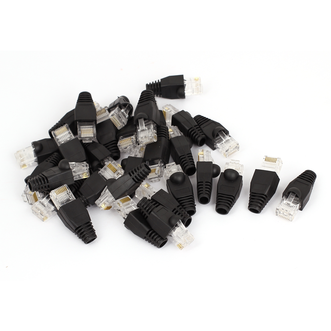 30 Pcs 8P8C RJ45 Head Shielded Modular End Wire Adapter w Boots Cover Black