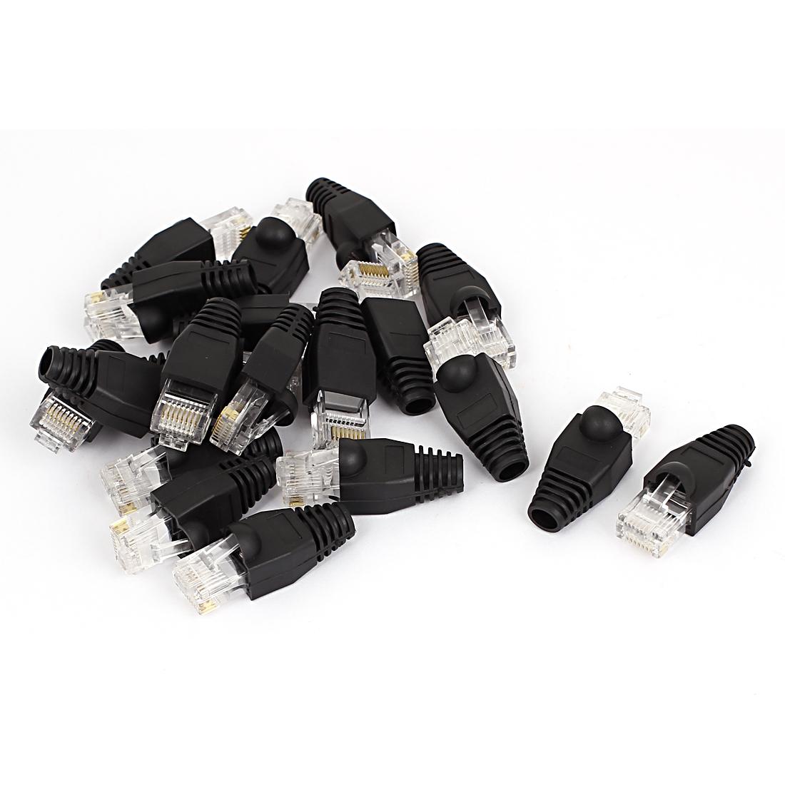 20 Pcs Shielded 8P8C RJ45 Ethernet Adapter Connectors w Boots Cover Black