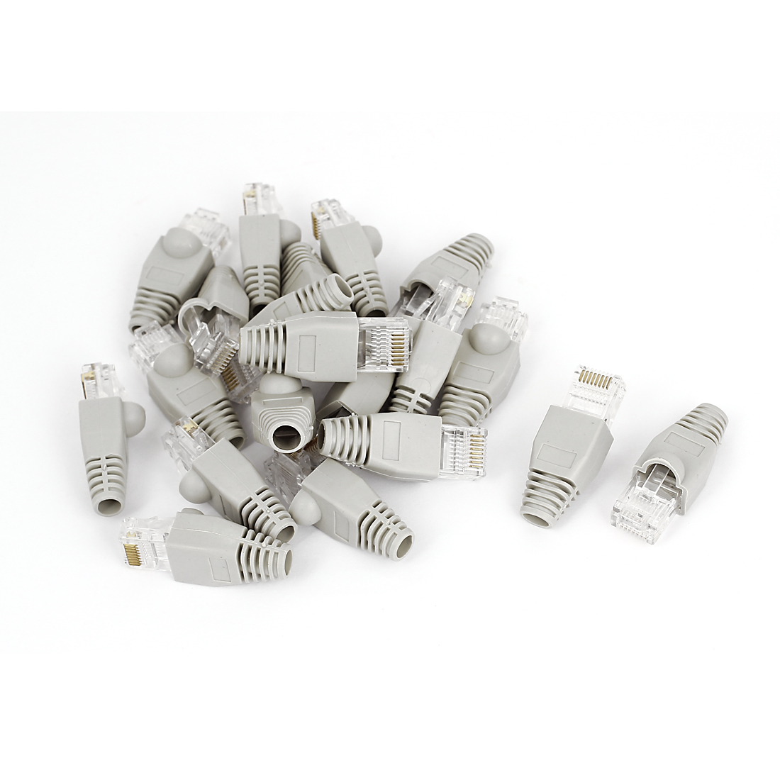 20 Pcs Shielded 8P8C RJ45 Plug End Modular Network Connectors w Boots Cover Gray