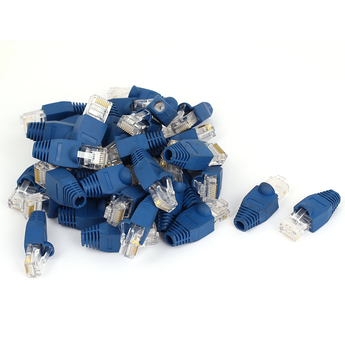 40 Pcs 8P8C RJ45 Contacts Head Shielded Network End Wire Adapter Connectors w Boots Cover Blue