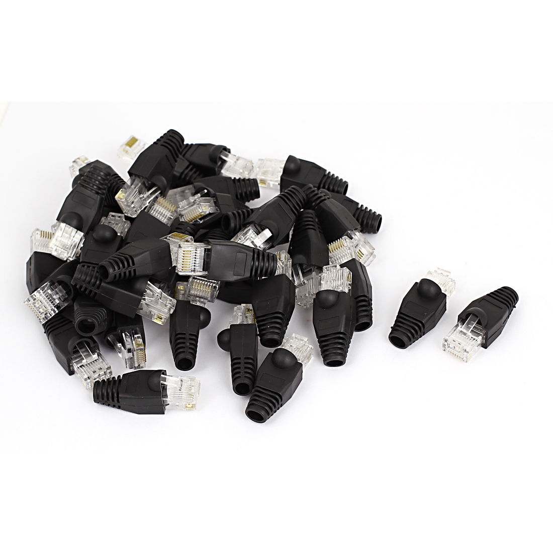 40 Pcs 8P8C RJ45 Head Shielded Modular Lead Connectors w Boots Cover Black