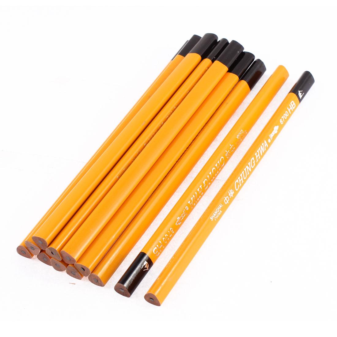 School Wooden Triangular Shaped Drawing Writing Lead Pencils 12 Pcs Yellow