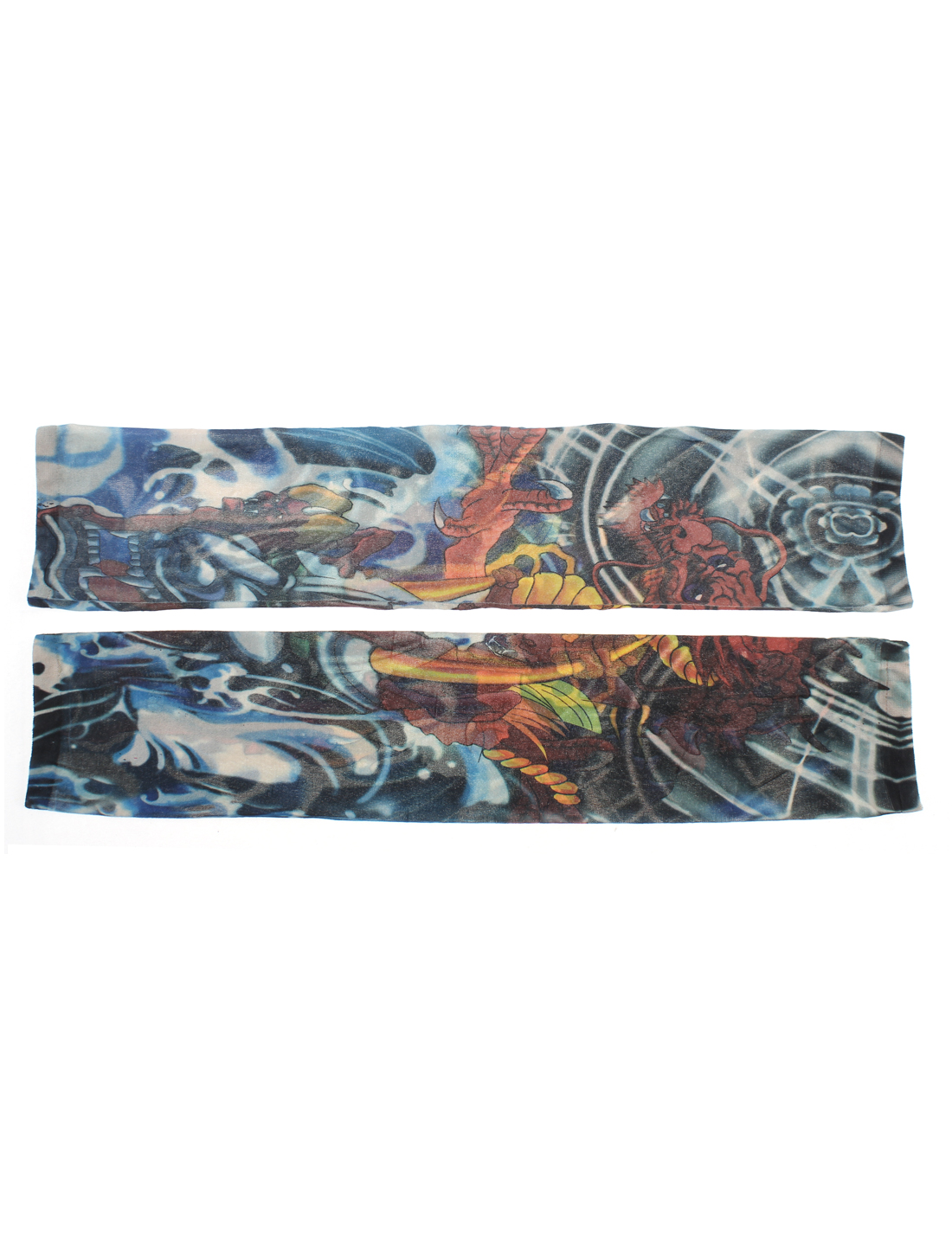 Dragon Pattern Stretchy Fingerless Temporary Tattoo Arm Sleeve Stocking 2pcs
