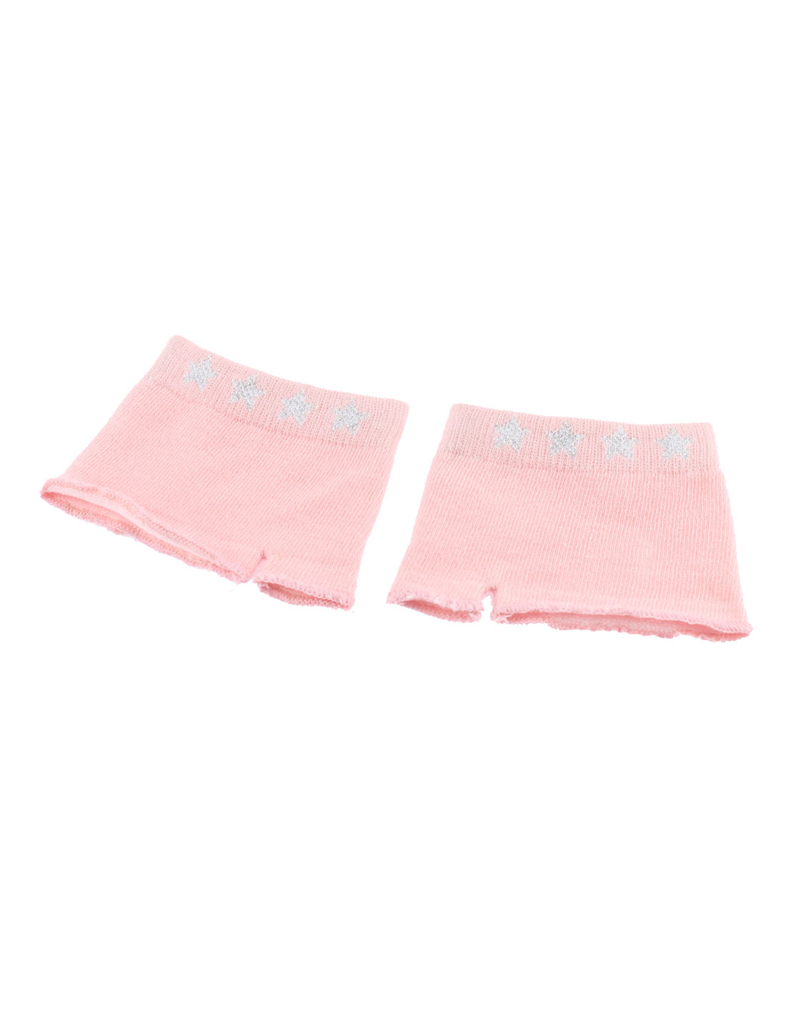Female Summer Acrylic Non-slip Invisible Half Palm Open-toed Socks Light Pink Pair