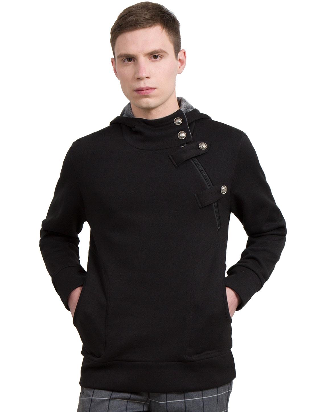Men Long Sleeve Stand Collar Slim Fit Hoodie Sweatshirt Black L