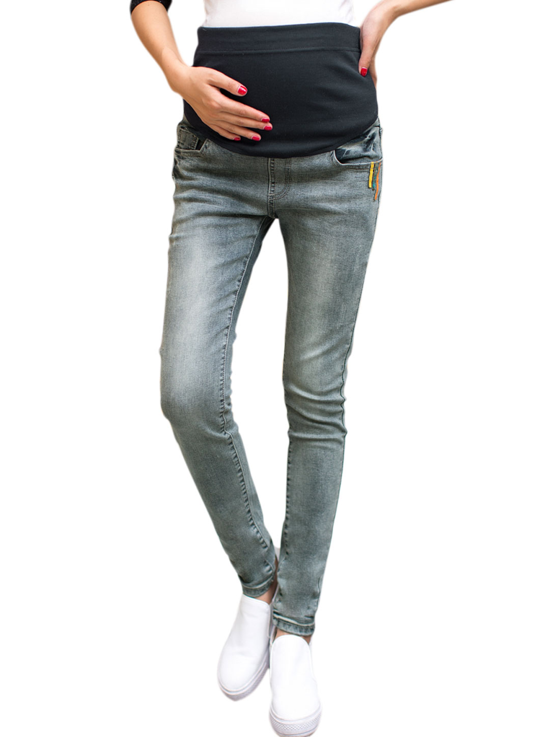 NZ02 Pregnant Women Belly Covered Skinny Jeans Gray XS