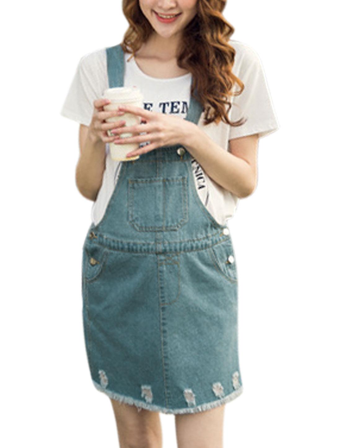 Maternity Pocket Front Tassel Hem Denim Suspender Skirt Light Blue M