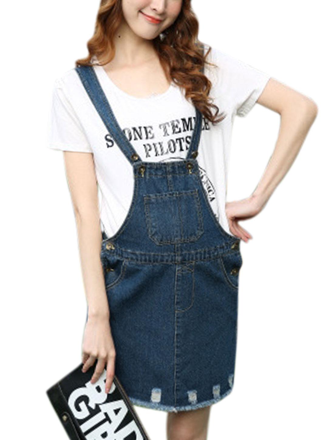 Pregnancy One Pocket Front Casual Denim Suspender Skirt Dark Blue M