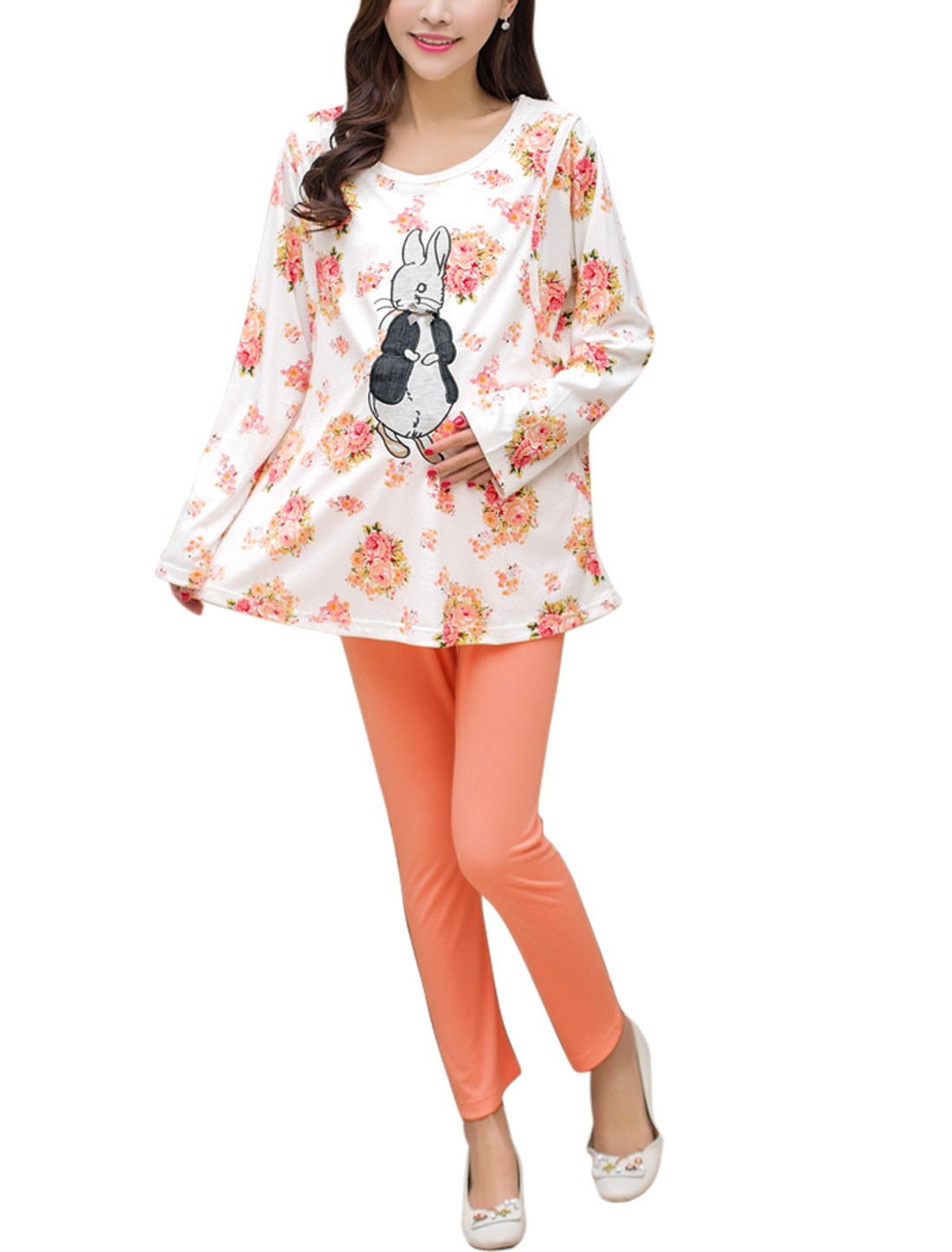 Maternity Floral Layered Top w Skinny Pajama Pants Set White Pink S