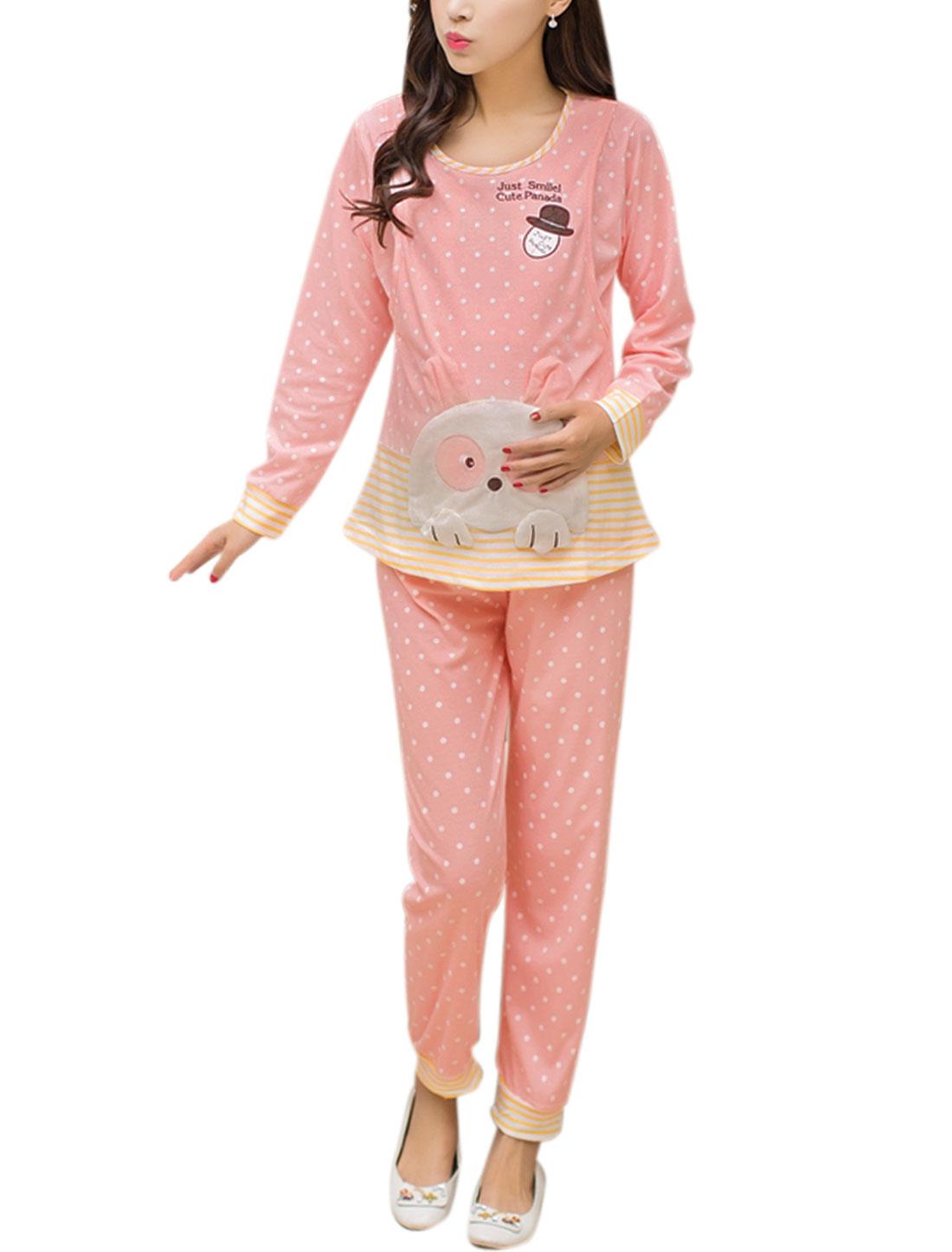 Maternity Dots Prints Shirt w Stripe Pants Pajama Set Pink L