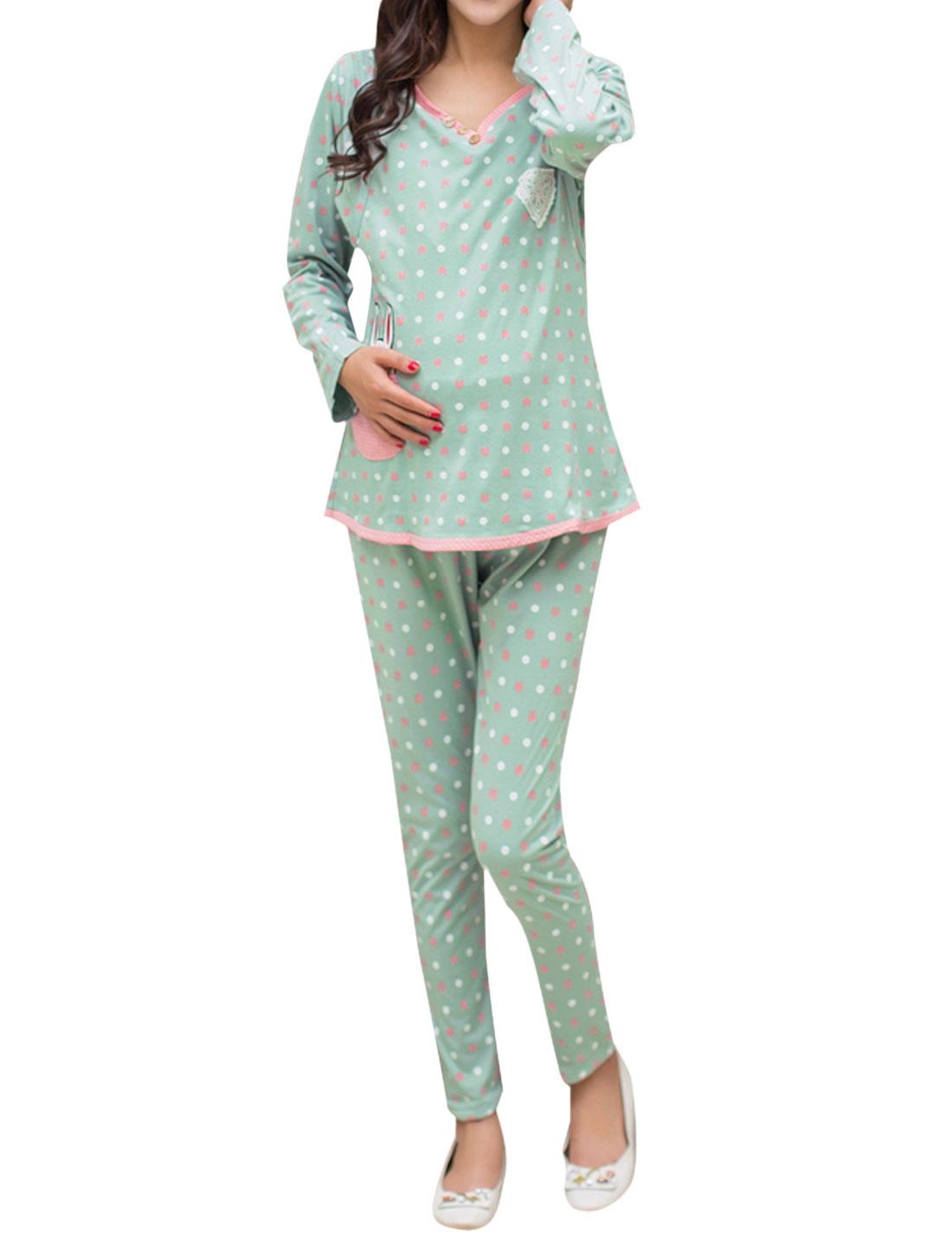 Maternity Cartoon Rabbit Dots Prints Piped Top w Pants Pajama Set Green M