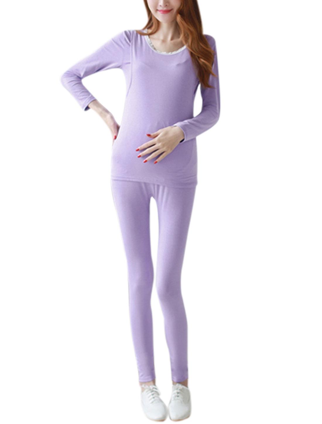 Maternity Nursing Stretchy Top w Elastic Waist Pants Pajama Set Light Purple S