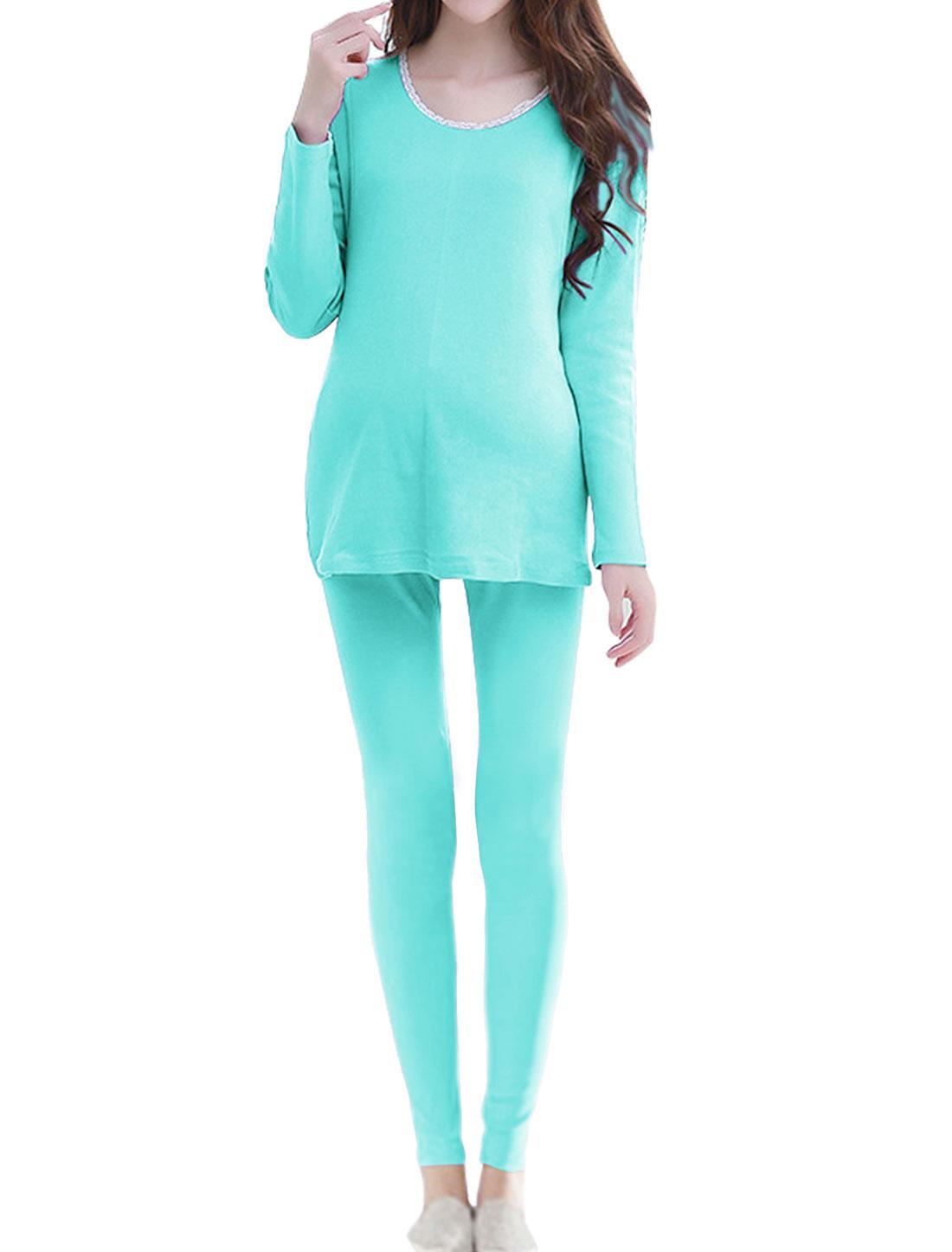 Maternity Long Sleeve Top w Skinny Lounge Pants Set Sky Blue XS