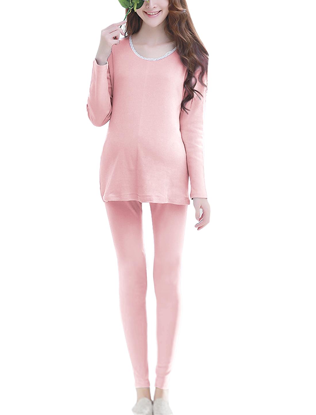 Maternity Layered T-shirt w Lace Panel Pants Sets Light Pink XS