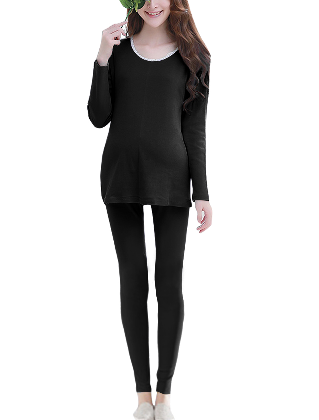 Maternity Layered Sleep Top w Skinny Lounge Pants Sets Black XS