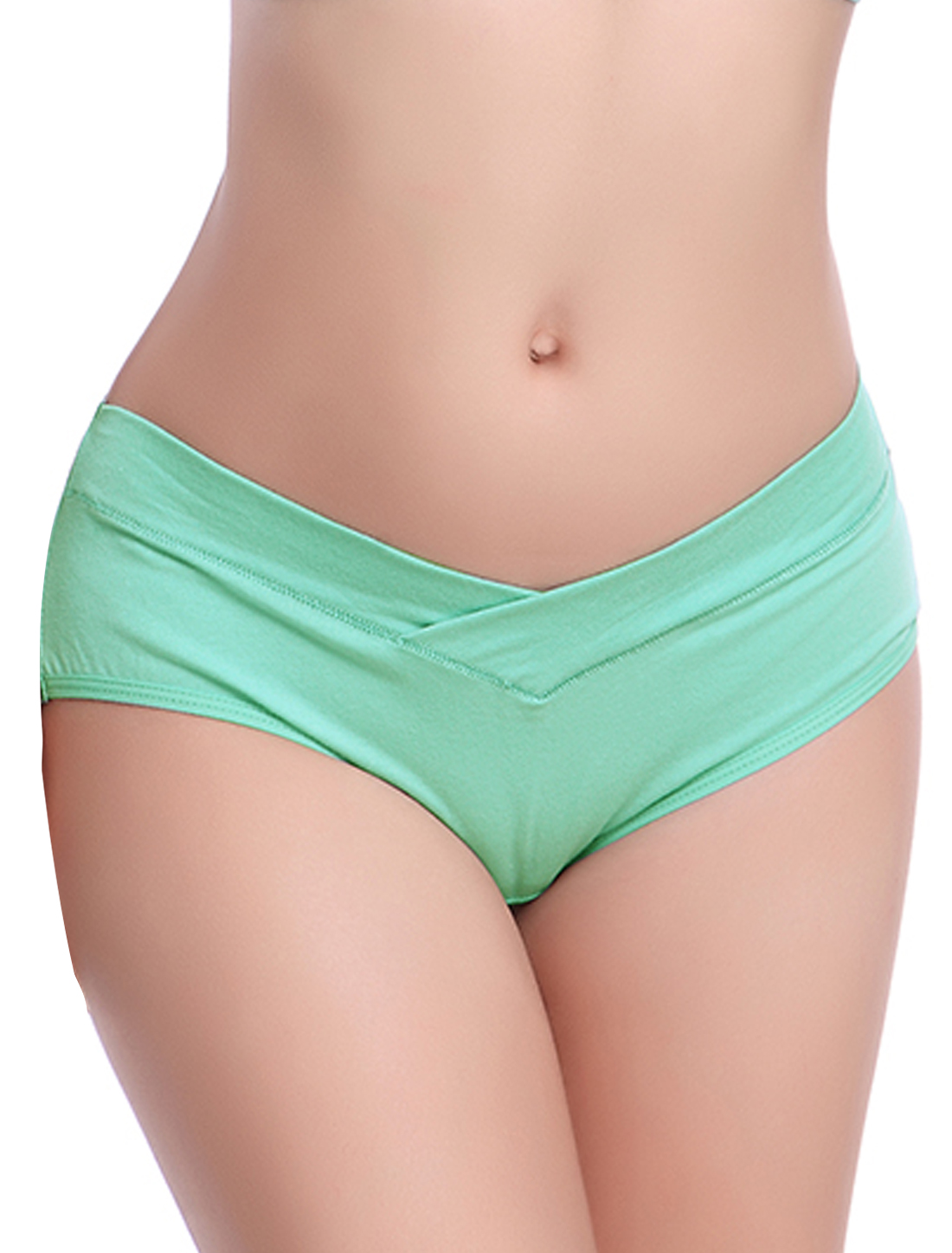 Maternity Crossover Front Design U-Shaped Underpants Briefs Green S