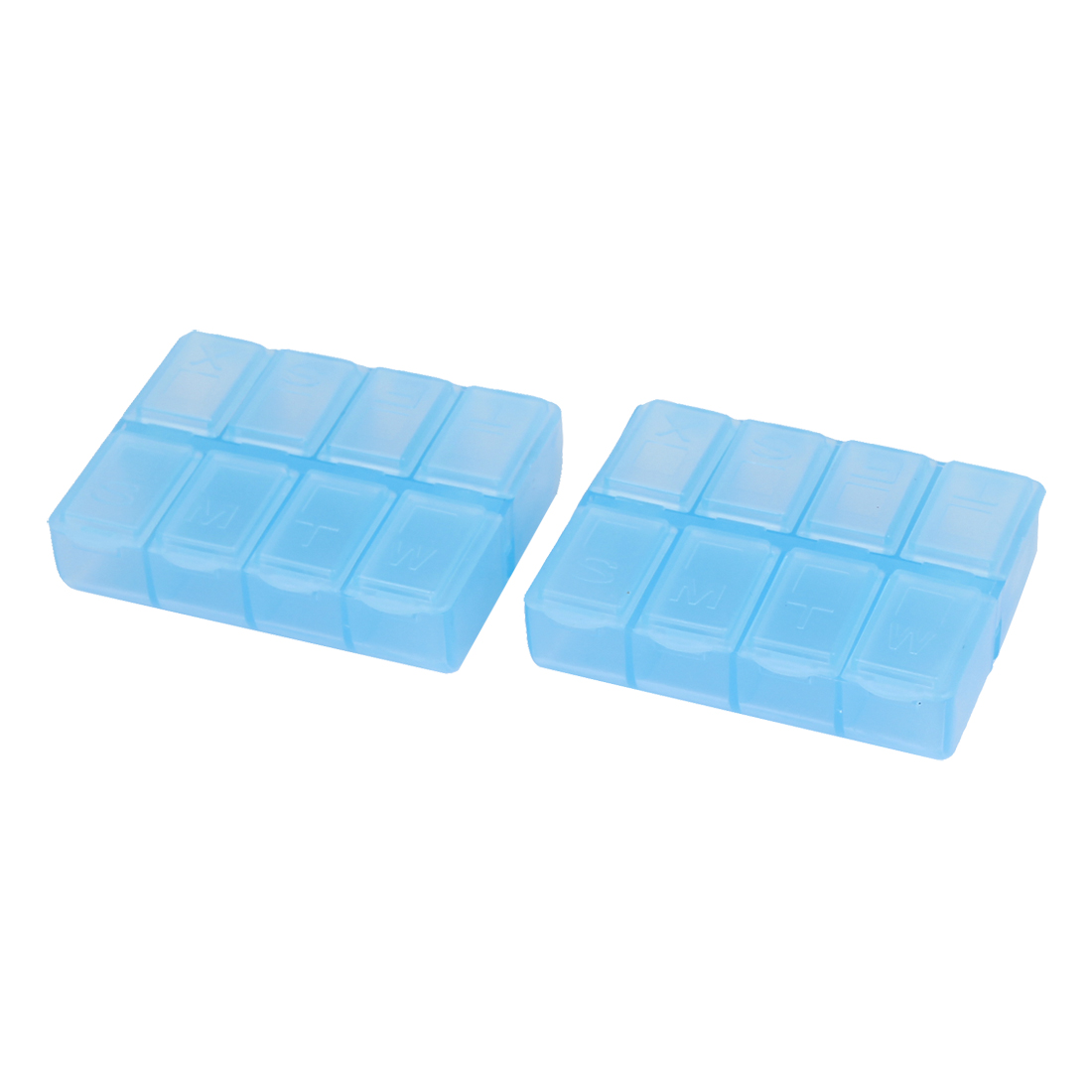 2Pcs Light Blue Plastic Rectangle 8 Compartment Pill Storage Case Box Holder