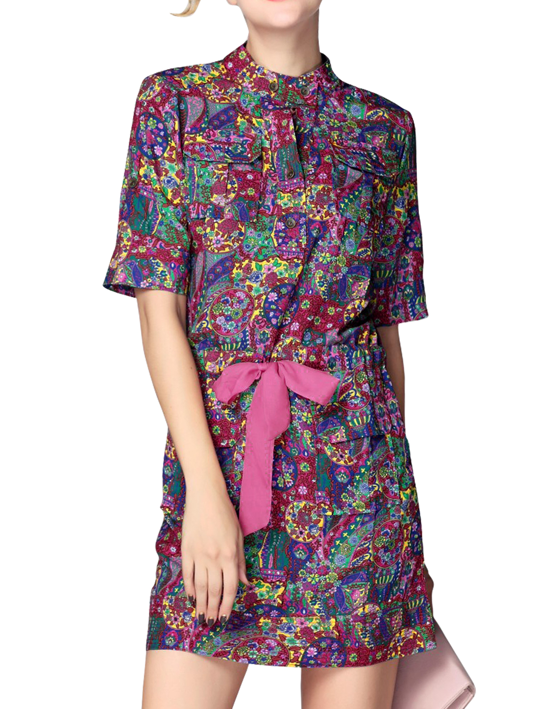 Women Elbow Sleeve Floral Prints Tunic Dress Green Fuchsia M
