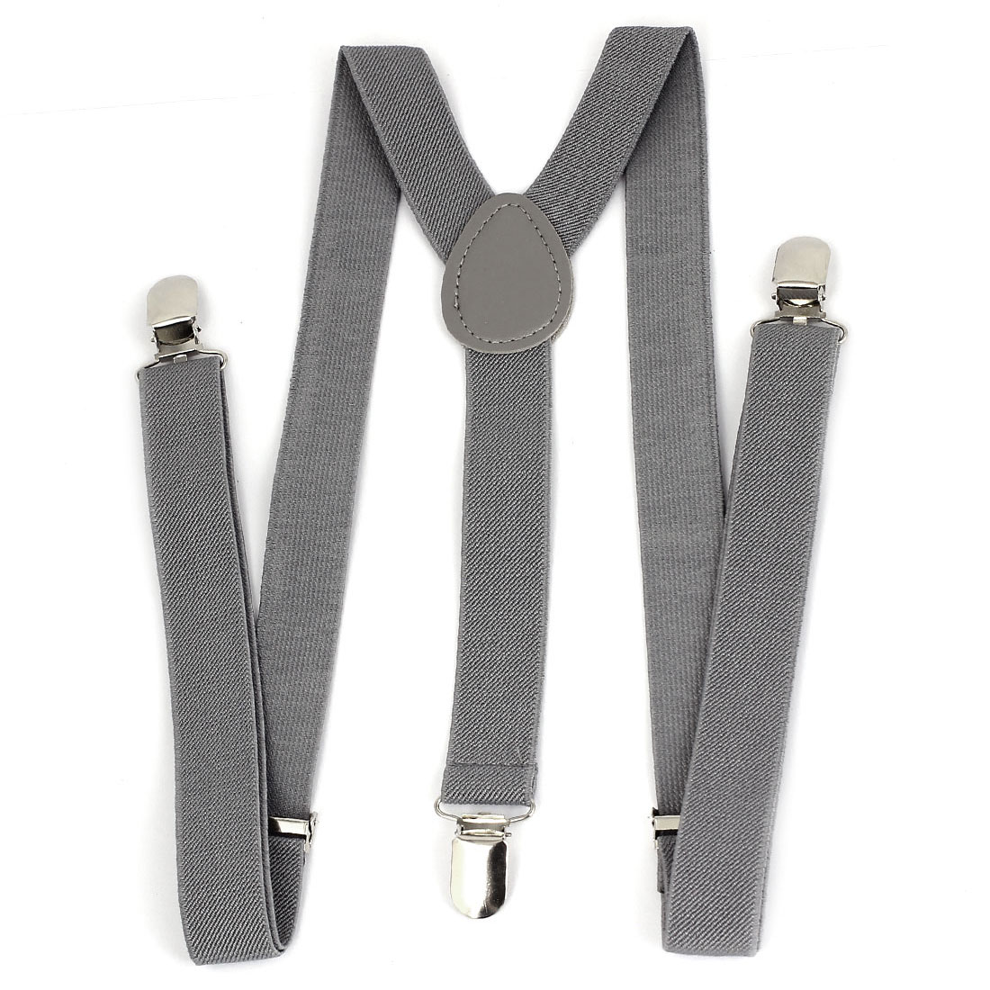 Men Women Elastic Y-Shaped Adjustable Clip Suspender Brace Light Gray