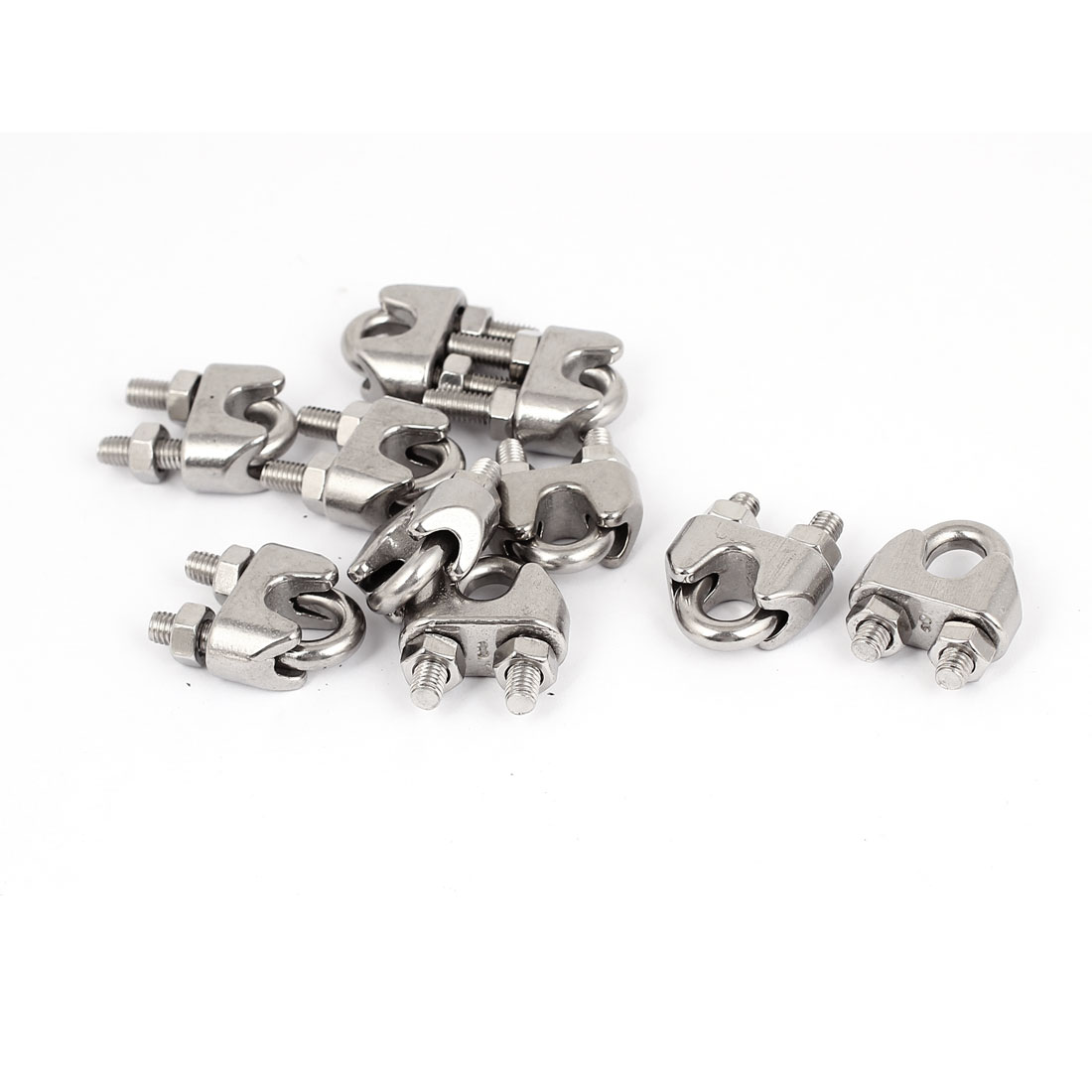 "9mm 3/8"" Metal Wire Rope Cable Clamps Clips 10Pcs"