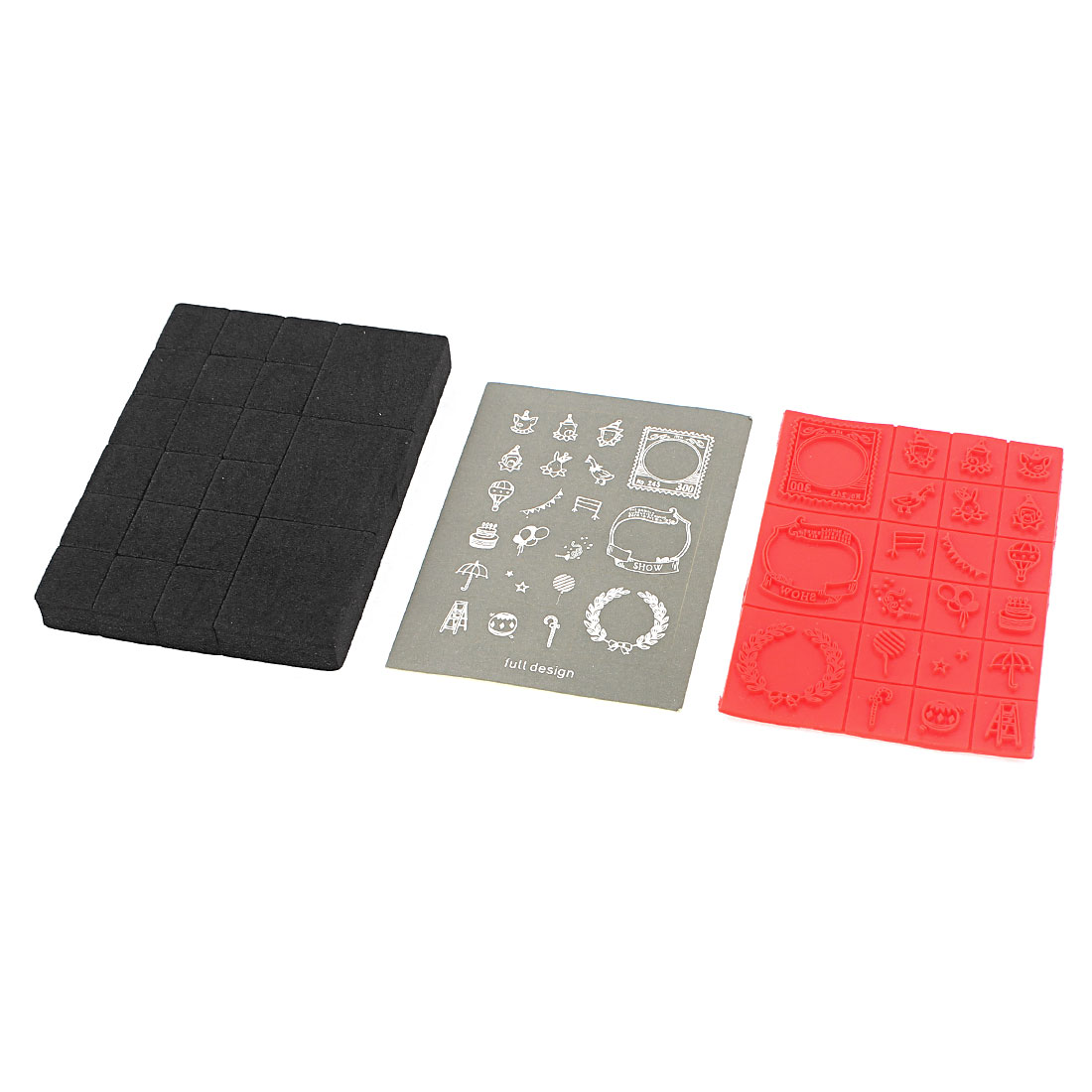 Rectangle Holding Box Case 21 Patterns Seal Stamp Stamper Foam Mat Set
