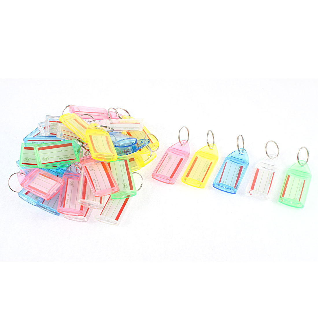 30 Pcs Plastic ID Label Name Tag Metal Split Ring Key Fobs Luggage Keyring Keychain Multicolor