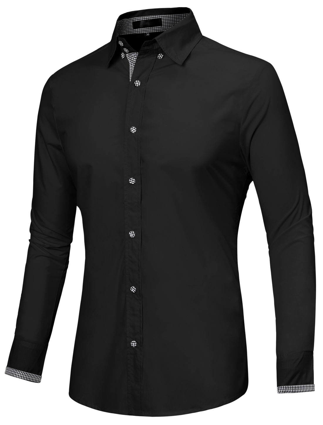 Men Point Collar Long Sleeve Plaids Detail Button Down Shirt Black L