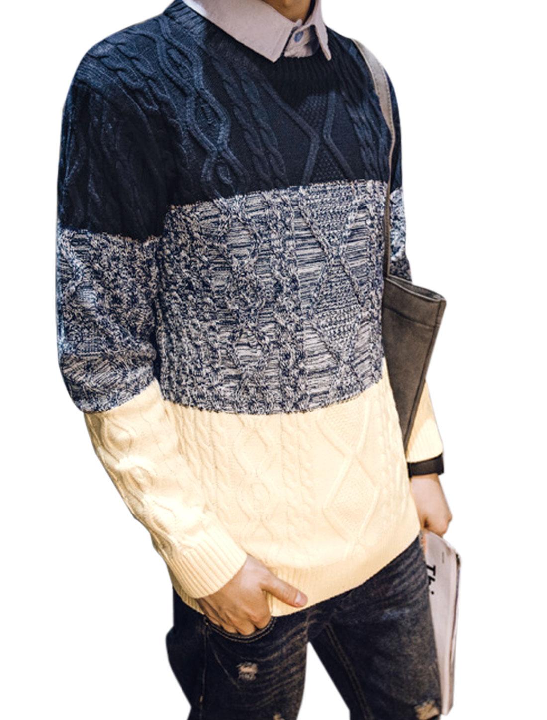 Men Long Sleeve Crew Neck Color Blocking Sweater Navy Blue Beige M